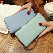 цена на Female Wallet PU Leather Long Purse Black/pink/blue/green/gray Famous Brand Designer Wallet Women 2019 Quality Female Purse New
