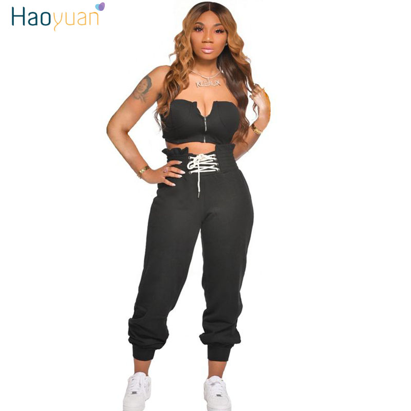 HAOYUAN Sexy Two Piece Set Summer Clother For Women Crop Top And Lace Up Pant Sweat Suits Lounge Wear Club Outfits Matching Sets