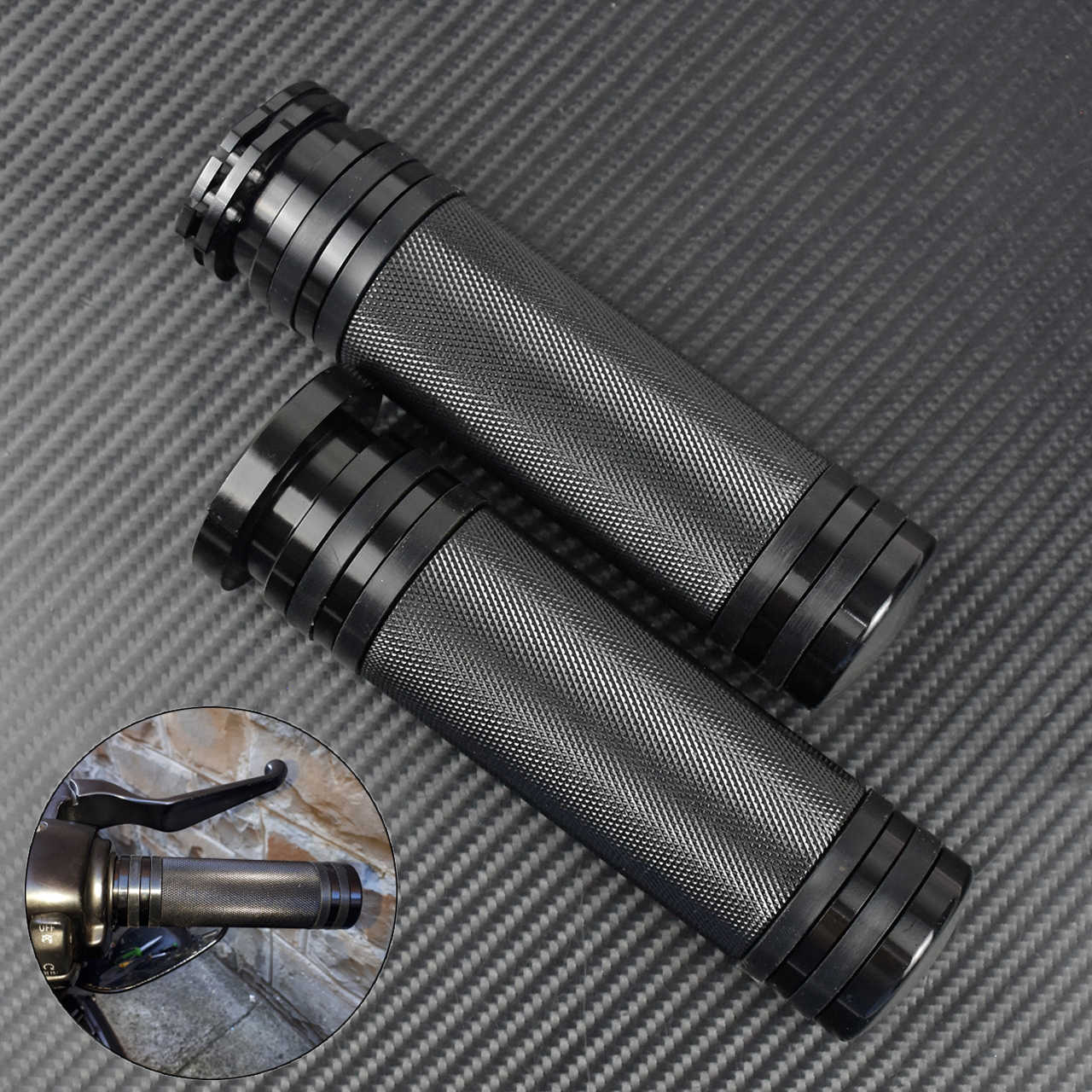 DLLL Universal 25MM 1 CNC Motorcycle Handlebar Hand Grips Bars Covers for Harley Davidson Dyna Sportster XL883 XL1200 X 48