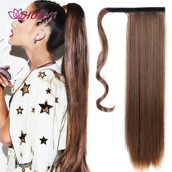 цена на HUAYA Long Straight Ponytail Wig Synthetic Heat Resistant Wrap Around Clip In Ponytail Hair Hairpiece Extensions 22