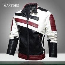 Mens Leather Jackets Motorcycle Stand Collar Zipper New Male PU Coats Biker Street Faux Leather Fleece Bomber Jacket Outerwear