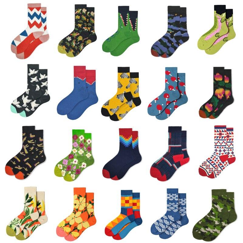 Popular Brand Cotton Cartoon Men's Socks Combed Cotton Fashion Cartoon Flower Women's Socks Novelty Funny Skateboard Socks