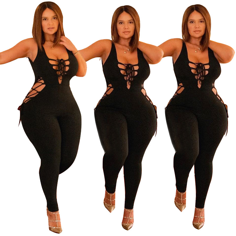 Fashion Sexy Women Summer Jumpsuit Lace Up Rompers Summer Overalls Night Club Female Bodycon Bodysuit Women Plus Size Jumpsuits
