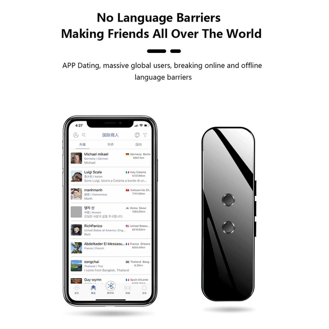 Портативный Умный голосовой переводчик, устройство в режиме реального времени с голосовым переводом 40 +/70 +, электронный языковый переводчик 3 в 1, Bluetooth переводчик