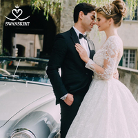 Luxury Long Sleeve Wedding Dress Swanskirt u144 Vintage Beaded Ball Gown Princess Bridal Gown Customized Vestido de Noiva