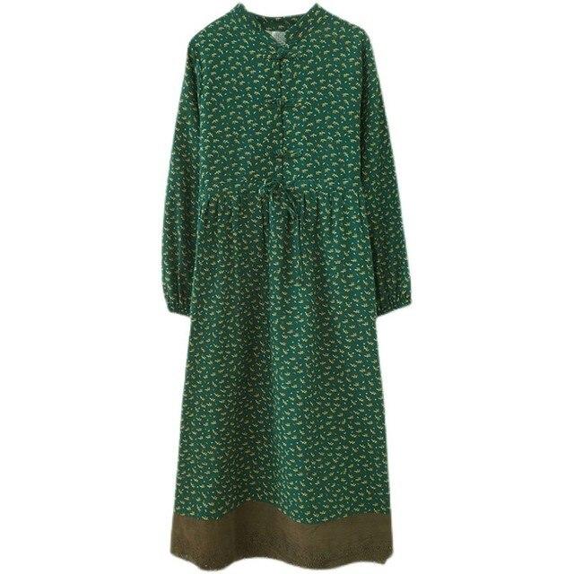 Women Cotton Linen Long Dress New Arrival 2021 Spring Vintage Floral Print Patchwork Lace Loose Female Casual Dresses D024 6