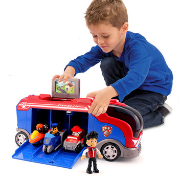 Paw Patrol Toy Set Puppy Patrol Rescue Bus Anime Character Captain Ryder Patrulla canina Bus Action Figure Model Kids Gift paw patrol toys set action figure anime figure patrol paw track car toy patrulla canina bus rescue car toy set gift