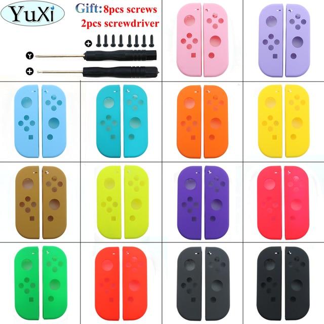 YuXi 보호 케이스 닌텐도 스위치 NS 조이 콘 교체 하우징 쉘 커버 NX 조이 콘 컨트롤러 케이스 그린 핑크