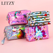 Cute Unicorn Pencil Case PU Holographic For Girls Big Pencilcase Cosmetic Bag  School Box Tools