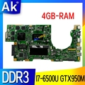 SAMXINNO K501UX Laptop motherboard für ASUS K501UB K501U original mainboard DDR3 4GB-RAM I7-6500U GTX950M