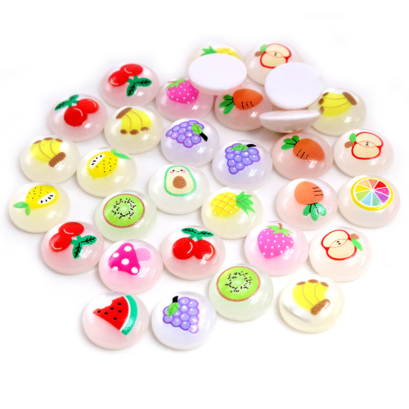 New Fashion 40pcs 12mm Mix Colors Fruit Hawaiian Style Series Flat Back Resin Cabochon For Bracelet Earrings Accessories