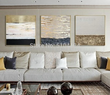 High Quality Pure Hand Painted Gold Foil Oil Painting Abstract on Canvas Pop Fine Art No Frame