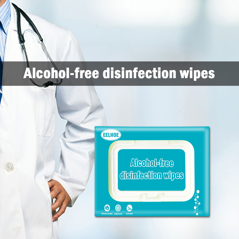 80pcs/Bag Antiseptic Cleanser Sterilized Wet Tissue Disinfection Alcohol-Free Swabs Pads Wipes Cleaning Sterilization Wipe