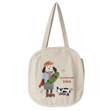 Cartoon Dogs Canvas Students Women Shoulder Bags Simple Big Capacity Crossbody Messengers