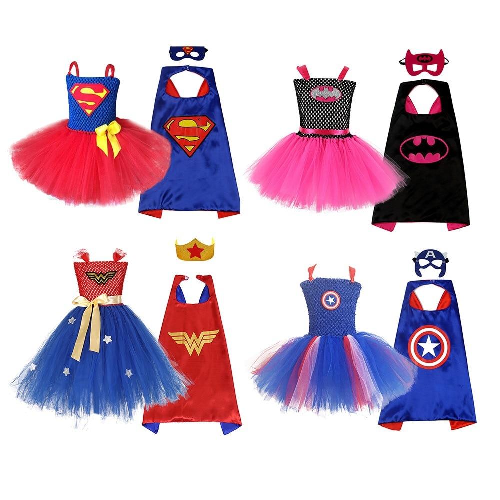 Summer Girls Tutu Dress with Mask Super Hero Inspired Baby Costume Kids Cosplay Christmas Halloween Wonder Dress
