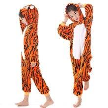 Kigurumi Children's Pajamas for Boys Girls Pajamas Flannel Kids Warm Soft Pijamas Suit Animal Sleepwear Winter Tiger Onesies