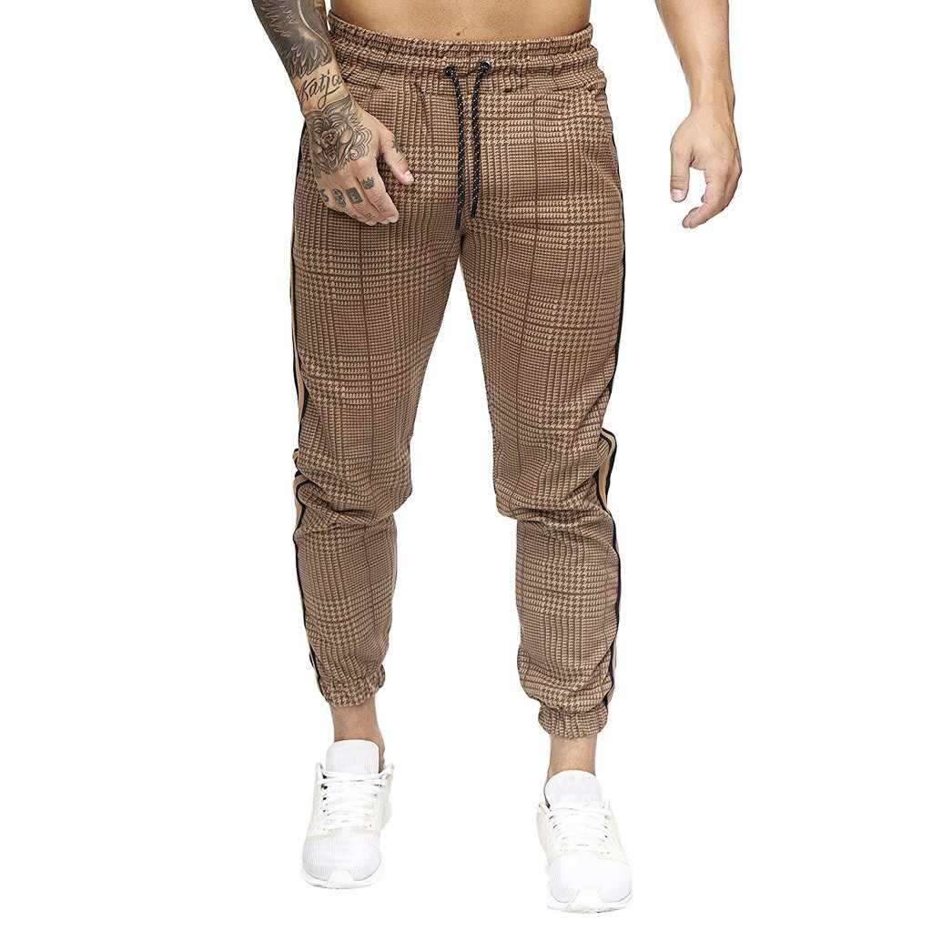 Men Splicing Overalls Pocket Sport Pants Work Loose Casual Trouser Long Pants
