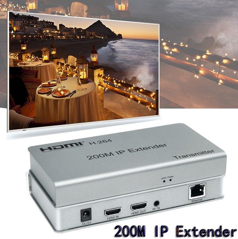 Extension HDMI d'extension IP 200M sur câble Lan Ethernet RJ45 Cat5e/6 CAT6 pour remplacer le cordon HDMI tcp/IP synchronisation Audio vidéo standard