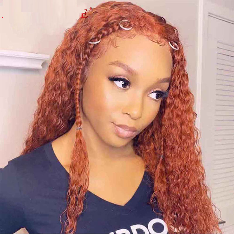 Lace Front Wigs With Baby Hair Orange Colored Curly Human Hair Bleached Knots Natural Hairline Glueless 13x4 Lace Wig For Women