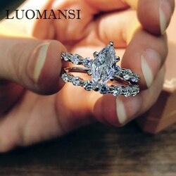 Luomansi, Изящные Ювелирные изделия, кольцо с оливковым сердечником из высокоуглеродистого бриллианта, кольца из стерлингового серебра 100% проб...