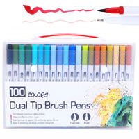 100PCS Colors Fine Liner Drawing Painting Watercolor Markers Pen Art Dual Tip Brush Pen School Supplies Stationery 04350|Art Markers|   -