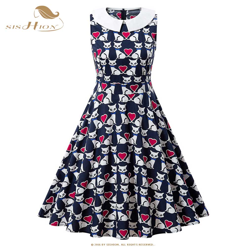 SISHION 2019 Summer New Women Dress Peter Pan Collar QY0287 Cats Print Sleeveless Plus Size A Line Vintage Dresses