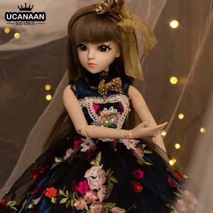UCanaan 23.6'' BJD 1/3 SD Doll with 18 Ball Joints Clothes Outfit Shoes Wig Hair Makeup for Girls Gift and Dolls Collection