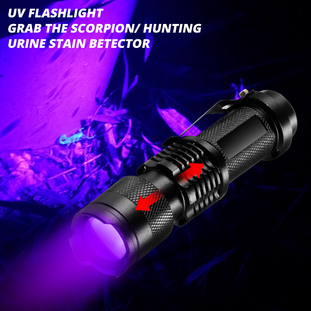 Mini UV Flashlight Zoomable 365nm 395nm Ultra Violet Light Pet Scorpion Urine Stains Detector USB Rechargeable