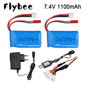 7.4V battery For Wltoys A949 A959 A969 A979 K929 1/18 Rc Car Lipo Battery 2S 7.4 V 1100 mah 25C 903048 for Wltoys RC Car Part image