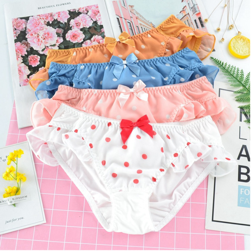 SP&CITY Sweet Lovely Dots Wave Edge Sexy Panties For Women Ruffles Cute Bow Girl Underwear Comfortable Briefs Female Lingerie