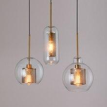 Lámpara colgante moderna para Loft, lámpara colgante de bola de cristal, accesorio de cocina, lámpara colgante de comedor, sala de estar luminaria para