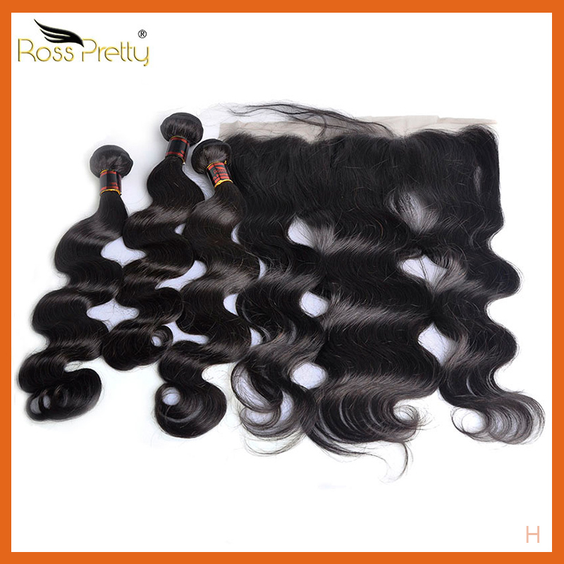 Brazilian Body Wave Hair Bundles With Frontal Baby Hair Remy Ear By Ear Lace Frontal With Human Hair Weave Ross Pretty
