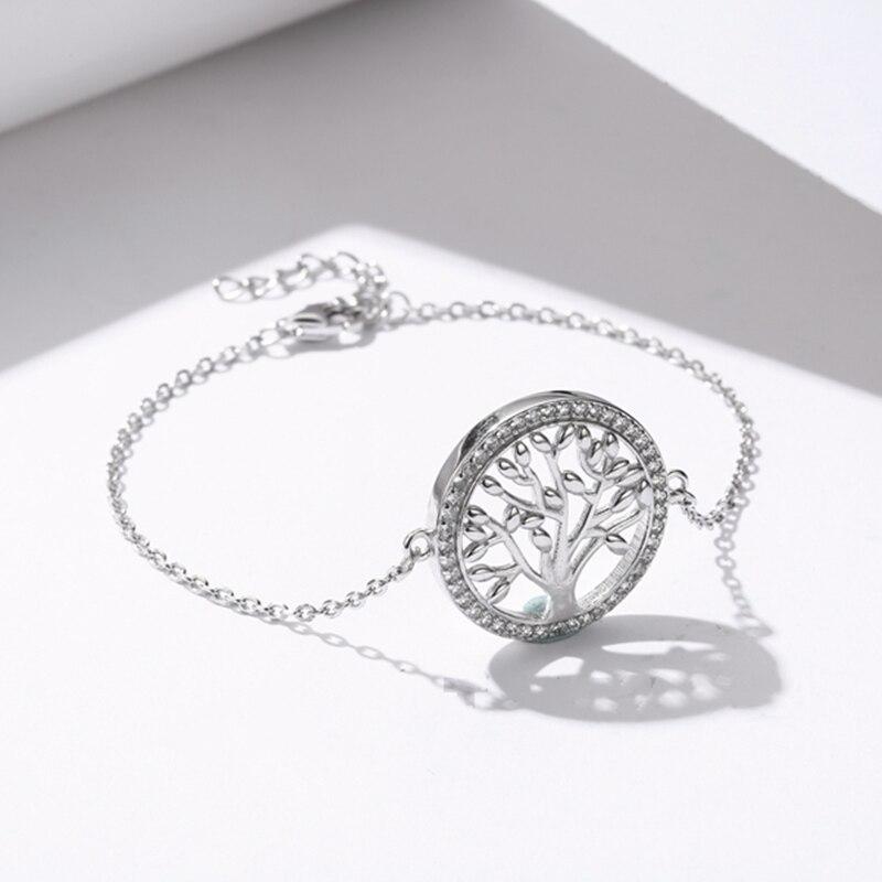 SODROV 2019 Couples Round Fortune Tree Sterling Silver Bracelet DIY Life Tree 925 Sterling Silver Women's Bracelet