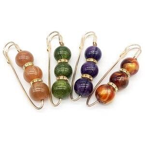 Image 1 - Strass robe à broches en perles colorées de décoration, broches de sécurité avec boucle, broches bijoux pour col de chemise, accessoires