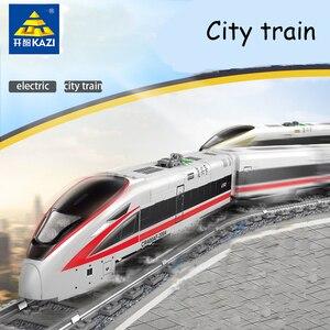 Оригинальный KAZI 98229 город Электрический поезд строительные блоки трек игрушки сборка мальчик подарки возрождение поезд детские игрушки