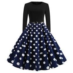 Hot new women's Retro round neck Print Long Sleeve swing dress dresses sexy dress -JY