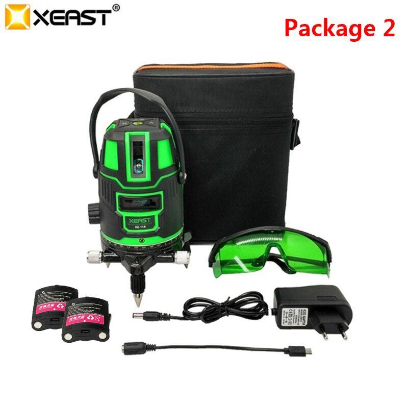 XEAST XE-11A, 5 линий, 6 точек, зеленый лазерный уровень, 360 градусов, лазерный уровень с наружным режимом, режим наклона, самонивелирующийся