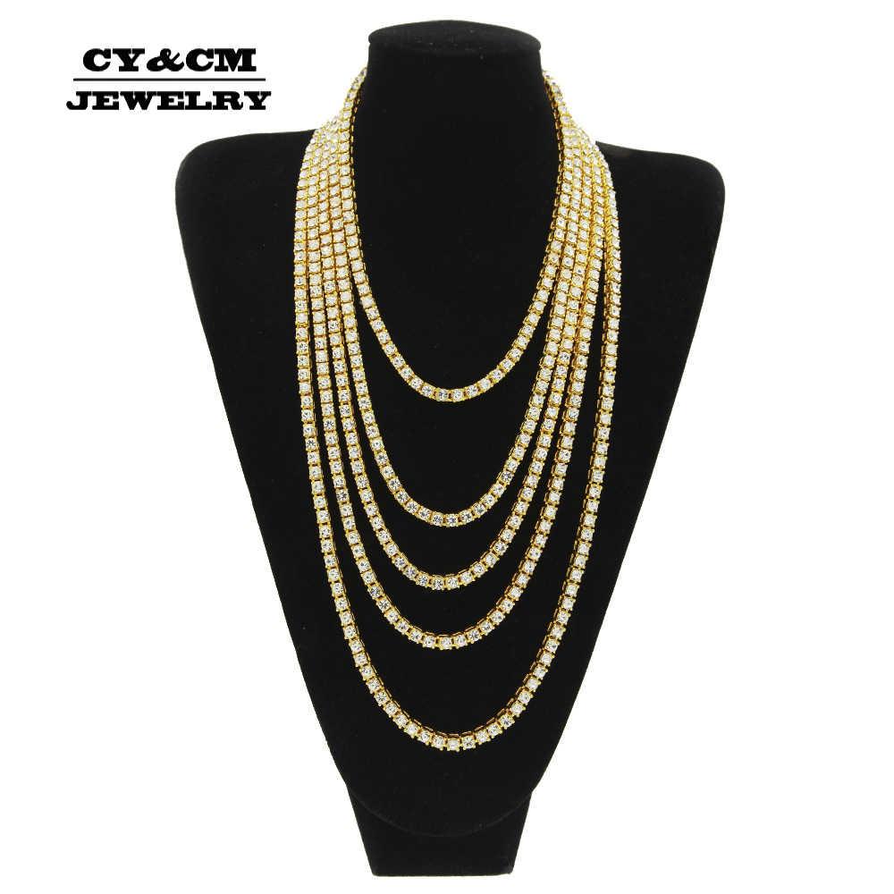 Hiphop Choker Bling Iced Out Crystal Rhinestone naszyjniki dla mężczyzn 5mm szerokość srebrny czarny złoty kolor 1 rząd tenisowy naszyjnik łańcuszkowy