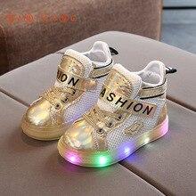 Sneakers Shoes Led-Light Girls Children Sport Boys Fashion Kids New Letter Mesh S136