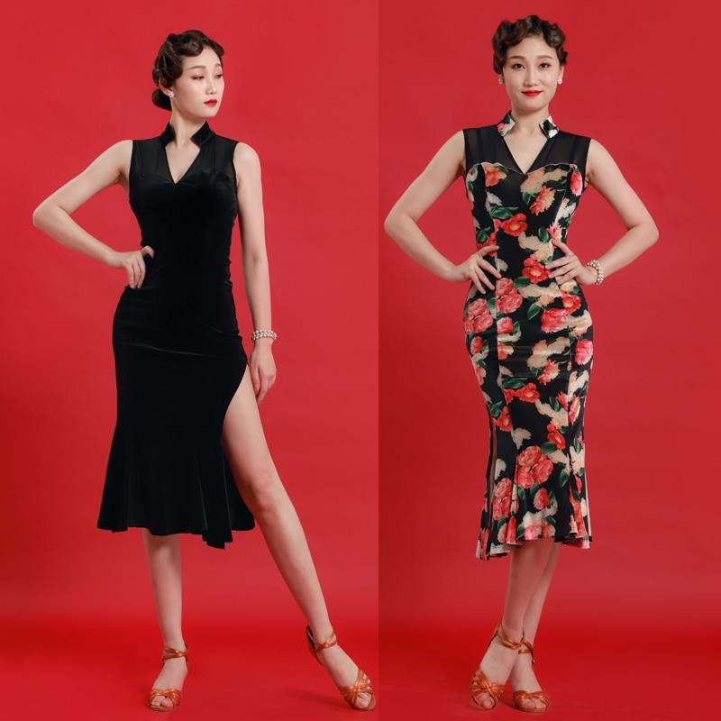 2019 femmes salsa latine tango rumba cha cha robe de danse de salon robe chinoise cheongsam qipao style col en v sexy danse porter