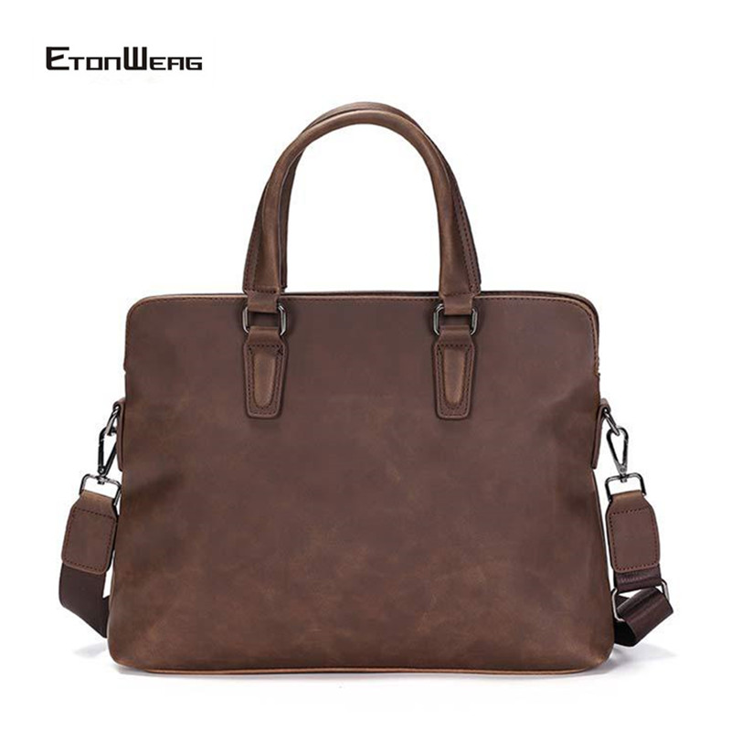 Business Office Men Briefcase Vintage PU Leather Handbag Computer Laptop Bag Male Solid Brown Shoulder Bag Leisure Tote Women