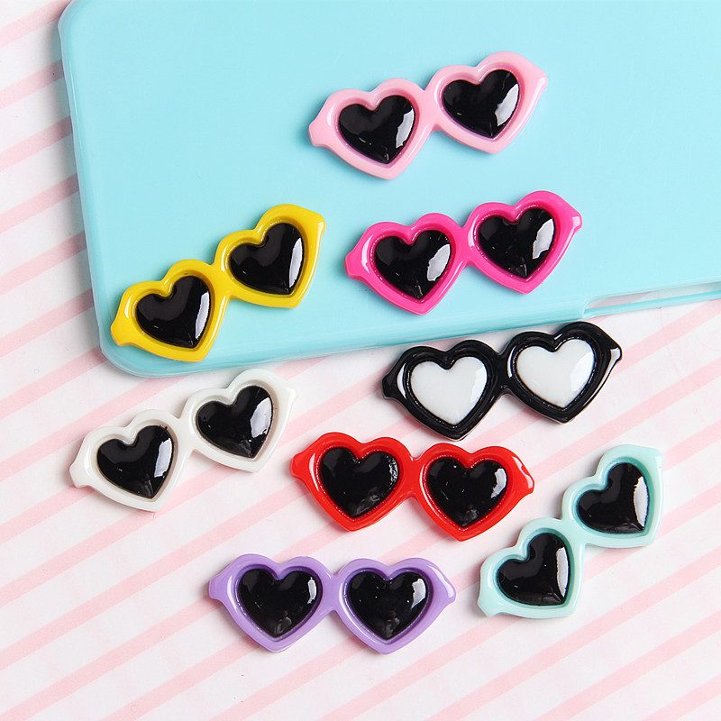 10Pcs/lot Mini Cute Heart Glasses Resin Cabochon Flat Back Embellishments For Scrapbooking DIY Jewelry Making Accessories Charms