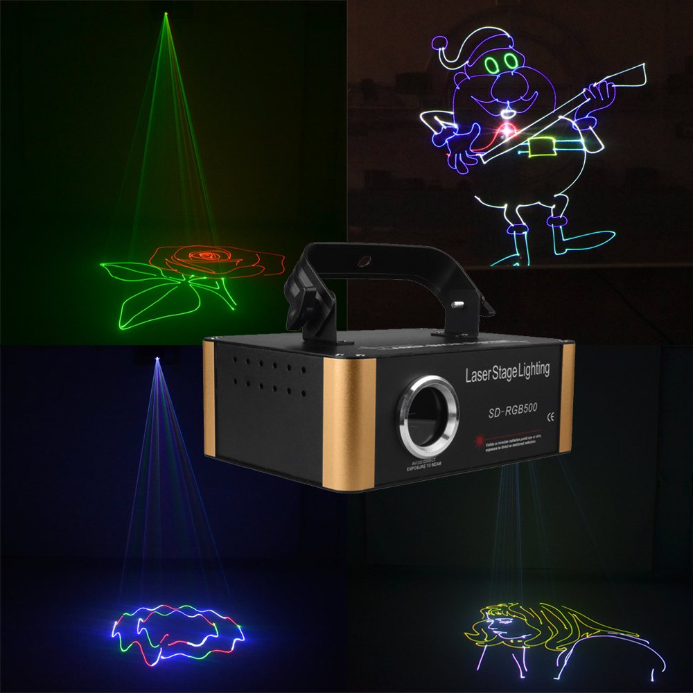 Sharelife 500mw RGB DMX Animation SD Card Laser Light Projector Stage Lighting DJ Gig Party Home Wedding Wall Effect S-RGB500