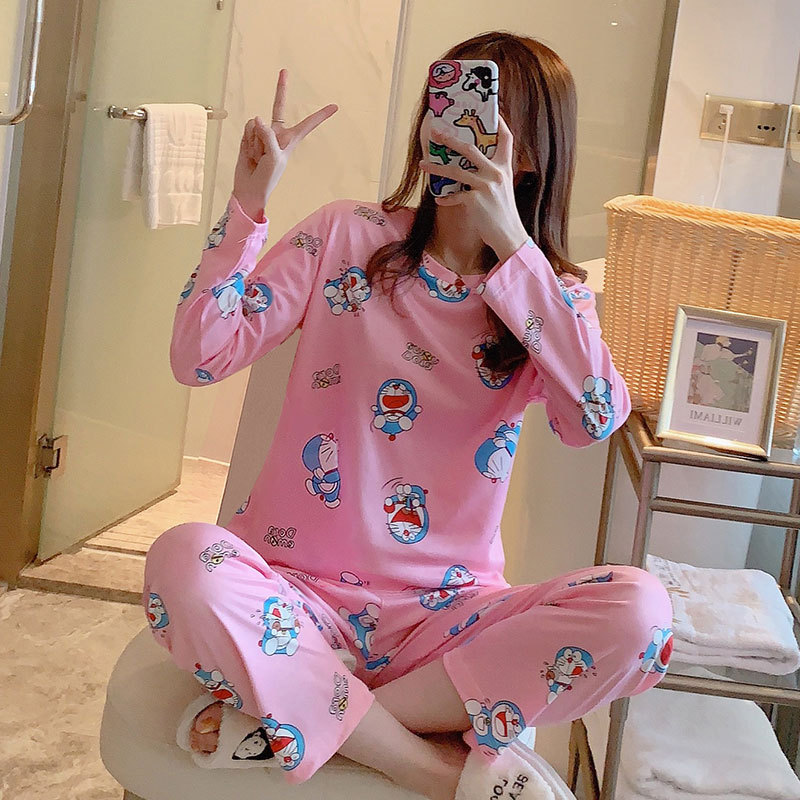 Spring And Autumn Korean-style Pajamas Women's Qmilch Cute Fresh GIRL'S Household Powder Jingle Cats Long Sleeve Trousers Two-Pi