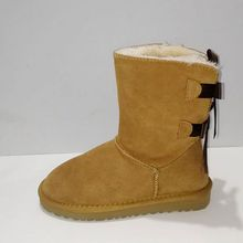 Boots Women Shoes Winter Bota Lace Fur Bow Plus Real-Cowhide Mujer