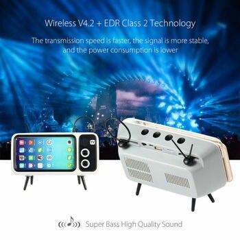 Mini Portable Retro BT Bluetooth Speaker Music TV Design Mobile Phone Holder Speaker Stereo Outdoor Sound 2