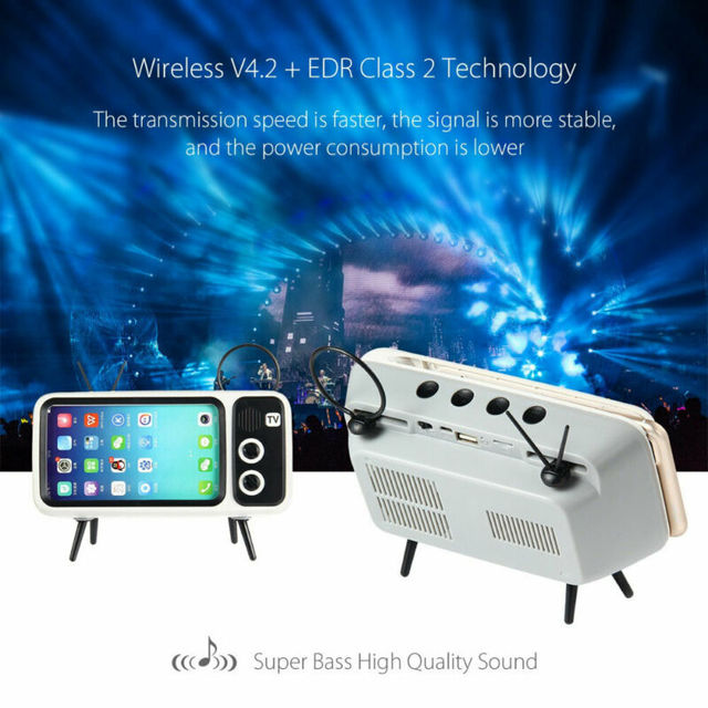 Mini Portable Retro BT Bluetooth Speaker Music TV Design Mobile Phone Holder Speaker Stereo Outdoor Sound 2