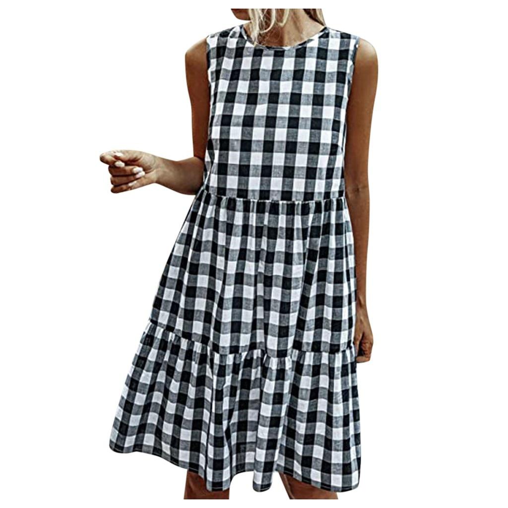 Fashion Women Plaid Short Dress Pockets A line Dress Casual Summer Beach Dress Sundress Evening Party