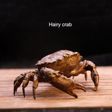 Retro Pure Copper Hairy Crab Tea Pet Simulation Animal Ornament Crafts Tea Tray Bonsai Decoration Tea