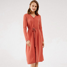 Женское трикотажное платье из 100% ной шерсти повседневное стильное